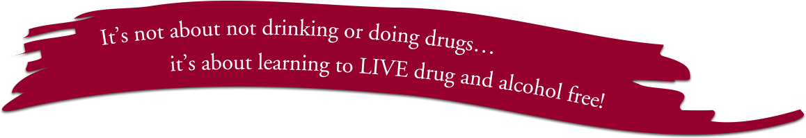 Banner saying It's not about not drinking or doing drugs... it's about learning to LIVE drug and alcohol free!
